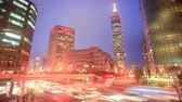 ling : time lapse of Traffic on Xinyi Road and view of Taipei at night, in Taipei, Taiwan