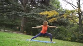 prática : Girl doing yoga in the park in autumn 4k