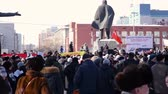 отставка : Novosibirsk, Russia, February 25, 2017 mitings flags on the square about raising prices for public utilities services to citizens