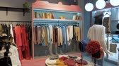 baby store : panoramic shooting on the showcase with mannequins in a clothing store Stock Footage