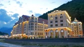 olympiáda : Embankment Rosa Khutor in the evening, Mzymta River, Sochi, Russia - July 14, 2015: Venue Winter Olympic Games 2014. UltraHD 4K