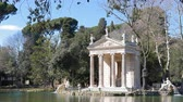 romênia : Temple of Asclepius. Villa Borghese gardens, Zoom. Rome, Italy Stock Footage