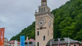 olympiáda : Sochi, Russia - September 1, 2017: Clock Tower Rosa Khutor at sunset. Time Lapse. Venue Winter Olympic Games 2014 Dostupné videozáznamy