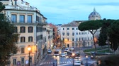 Square DAracoeli at dawn, Rome, Italy. Time Lapse