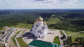 point of interest : Belogorsky St. Nicholas Orthodox-Missionary Monastery. Russia, Perm Territory, White Mountain, From Dron, Point of interest Stock Footage
