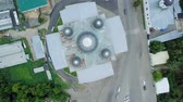 ortodoksluk : View of the Resurrection Cathedral from above. Arzamas, Russia, From Dron, HEAD OVER SHOT with rotation Stok Video