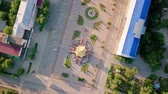 голову выстрел : Pagoda of the Seven Days - Pagoda in the central square of Lenin in the city of Elista, Kalmykia, Russia, From Dron, HEAD OVER SHOT