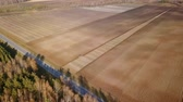 point of interest : The tractor plows a field with fertilizers. Autumn, Russia, From Dron, Point of interest Stock Footage