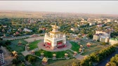 интерес : The golden abode of Buddha Shakyamuni at sunrise is the largest Buddhist temple in the Republic of Kalmykia, one of the largest Buddhist temples in Europe. Elista, Russia, From Dron, Point of interest