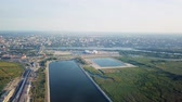 арена : Panoramic view of the central part of Rostov-on-Don. Stadium, the river Don. Russia, Rostov-on-Don, From Dron