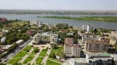 bell : Russia, Astrakhan - September 12, 2017: Aerial view of Astrakhan and the Volga River. The Astrakhan Kremlin., From Dron Stock Footage