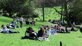 summer : People having a rest in parc des buttes-chaumont in Paris Stock Footage