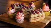morango : Many Different Delicious Berry Desserts on a Wooden Tray