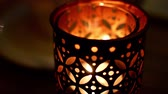 conviction : Lamp with a burning candle. Romantic or sad mood Stock Footage
