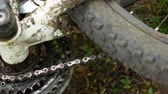 throw away : Spoked wheel of an overturned mountain bike Stock Footage