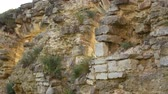 dry wall : Old stone wall in an ancient castle. Stock Footage