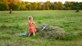 ancinho : happy little girl with rake at the countryside on a summer day.