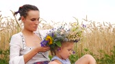 korenbloemen : hand girl sit weaves a wreath on her head. Leisure in rural farm. Stockvideo