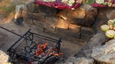 ズッキーニ : Vegetarian barbecue. Vegetables and a fire in the country 動画素材
