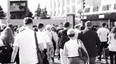 Ukraine, Kharkiv, September 2018. People go to the subway. Morning rush, crowd, black and white video.