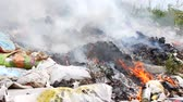 feuerwehrmänner : Fire at the garbage dump. Burning garbage, ecology in danger. Videos