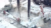 Well boring using bentonite mortar for framework pile of skyscapers base, HD 1080p with ambient sound. Стоковые видеозаписи