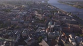 daugava : Aerial view over the Old Riga City. Stock Footage