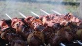 rôti de porc : Shashlik Pieces of pork or lamb Grilling pieces of meat while resting. Rotation skewers, Cooking meat on the grill.