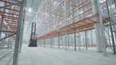 painting : loader goes in the modern and bright warehouse