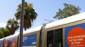 terremoto : FRANCE NICE - AUGUST 2016: A modern French tram in the centre of Nice with beautiful banners Vídeos