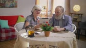 swiping : Lovely elderly retired family couple watching family photos Stock Footage