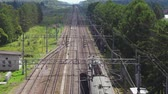 Passenger train moving past railway station in green forest, aerial shot