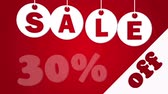 percentagem : Sale and thirty percent off on the red background