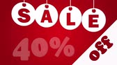 čtyřicet : Sale and forty percent off on the red background