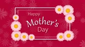 Happy Mothers Day with hearts on the pink background with flowers