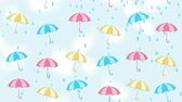 Abstract summer background with umbrellas and rain