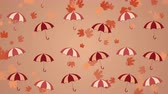 dekor : Autumn background with umbrellas and falling leaves Stok Video