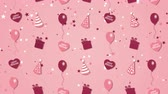 Abstract background Happy Birthday with balloons, party hats and hearts