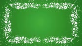 Abstract green background with flower frame and glowing particles Stock Footage