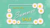 Summer sale with frame and flowers Stock Footage