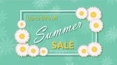 Summer sale, discount fifty percent with frame and flowers