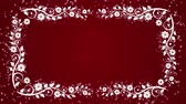многоцветный : Abstract red background with flower frame and glowing particles