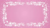 Abstract pink background with flower frame and glowing particles