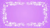Abstract purple background with flower frame and glowing particles