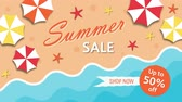Summer sale, discount fifty percent with umbrellas and the sea Stock Footage