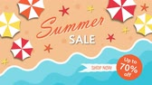 Summer sale, discount seventy percent with umbrellas and the sea Stock Footage