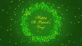 İrlanda : Happy St. Patricks Day with shamrocks on the green background