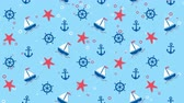 bańka : Sea background pattern with ships, starfishes and anchors Wideo