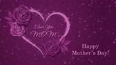 anneler : Happy Mothers Day with heart and roses on the dark pink background