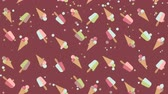 frio : Ice cream moving background pattern Vídeos